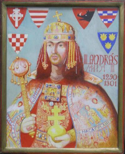 III. András arcképe uralkodásának évszámával