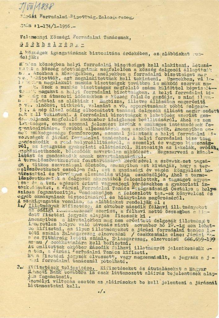Rendelet forradalmi bizottságok alapításáról Zala megyében – határozat feladatokról