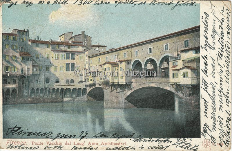 A Ponte Vecchio régi képeslapon (MaNDA adatbázis)