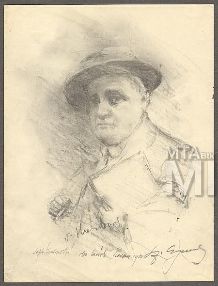 Aba Novák Vilmos Szentgyörgyvári Gyenes Lajos rajzán (MaNDA adatbázis)
