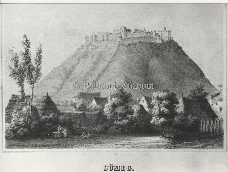 19. századi metszet a romos várról (MaNDA)