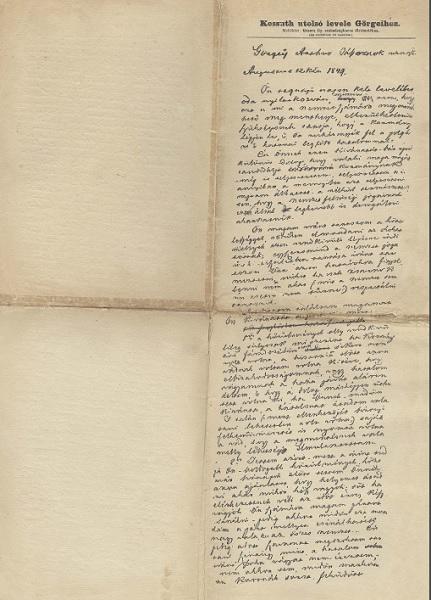 Kossuth utolsó levele Görgeihez - Gömöri Múzeum; Putnok, CC BY-NC-ND