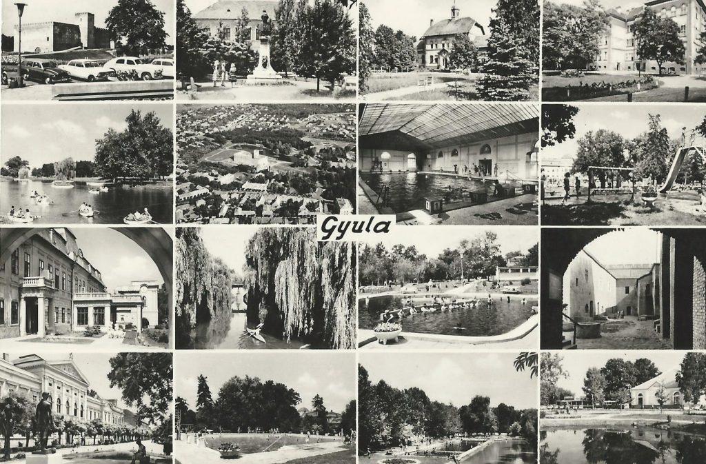 Képeslap Gyuláról, bal alsó sarokban a kastéllyal (MaNDA)