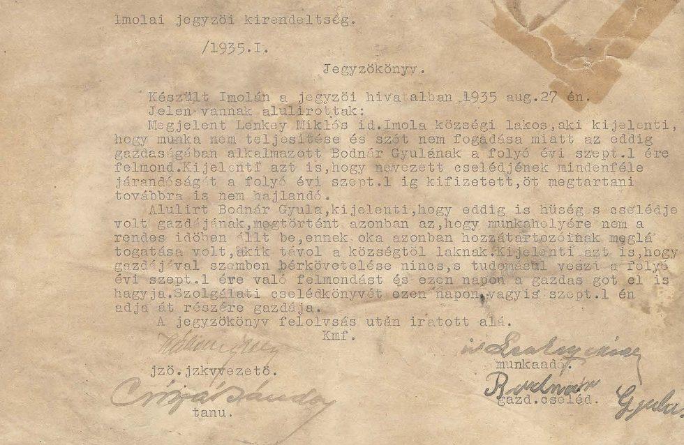 Lenkey Miklós gazda felmond Bodnár Gyula cselédnek 1935-ben (MaNDA)
