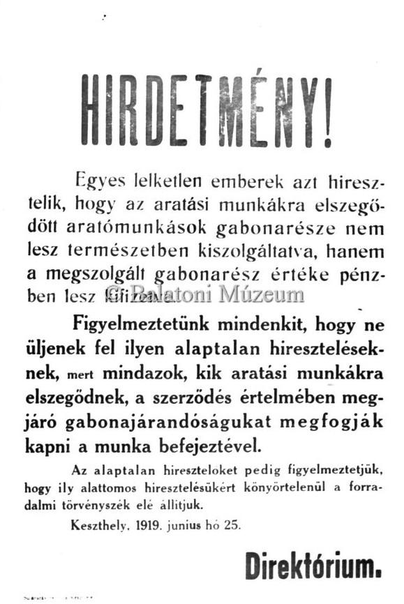 A keszthelyi 1919-es direktórium felhívása (MaNDA)