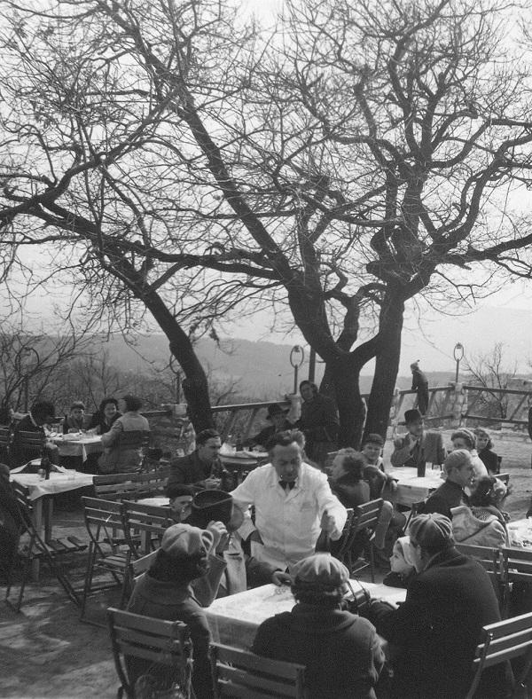A Hármashatárhegy Étterem terasza - fénykép az első tavaszi vasárnapról (1950-60) - Magyar Kereskedelmi és Vendéglátóipari Múzeum, CC BY-NC-ND