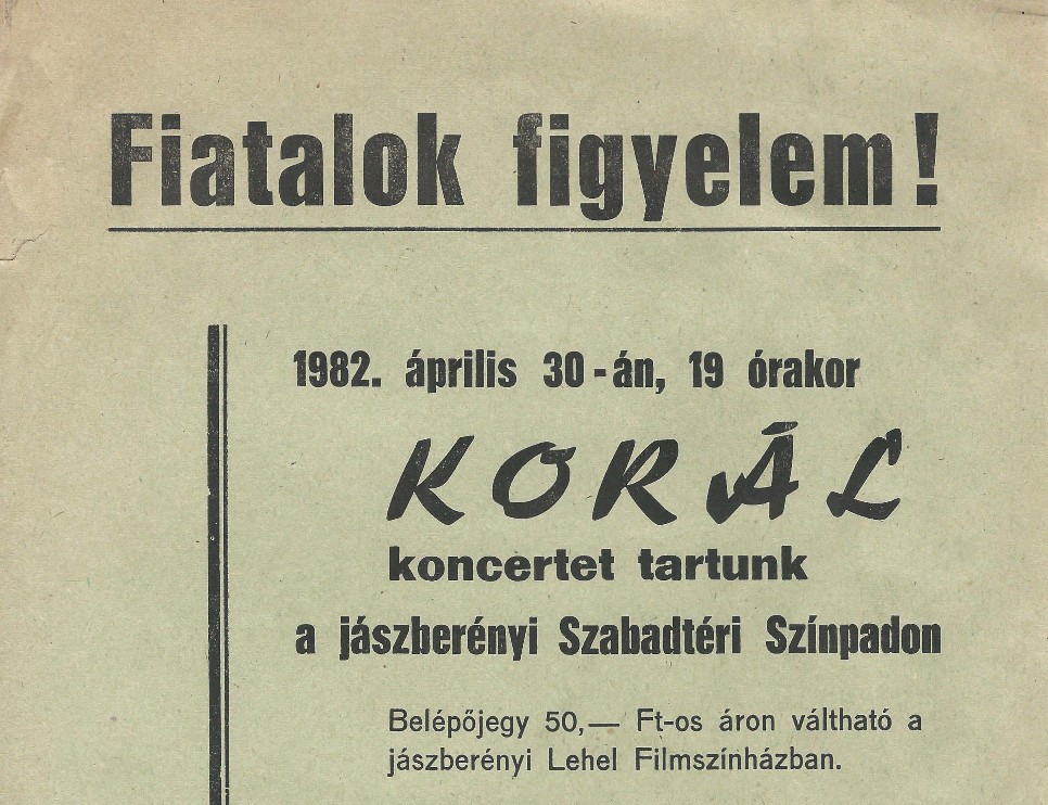 1982-es jászberényi koncert plakátja (MaNDA)