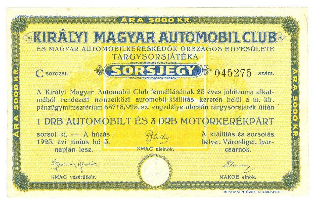 A Királyi Magyar Automobil Club sorsjegye 1925-ből (MaNDA)