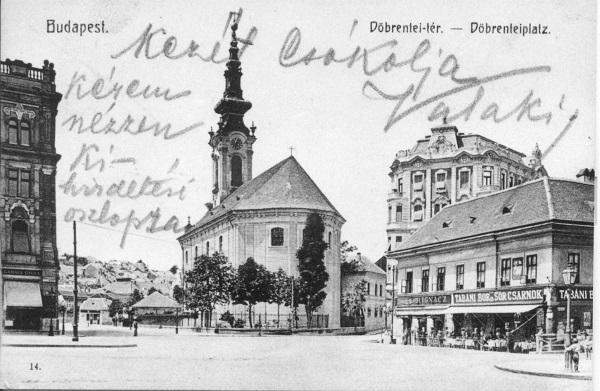Döbrentei tér a volt Bereczky-házzal és a volt Rác templommal, Budapest, 1910 körül - MKVM, CC BY-NC-ND