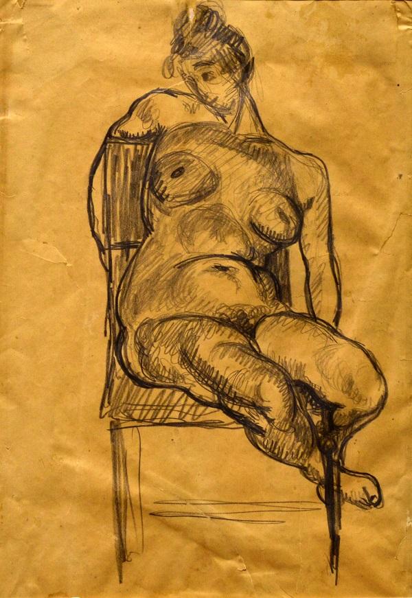 Berény Róbert: Akt, ceruzarajz - Rippl Rónai Megyei Hatókörű Városi Múzeum, CC BY
