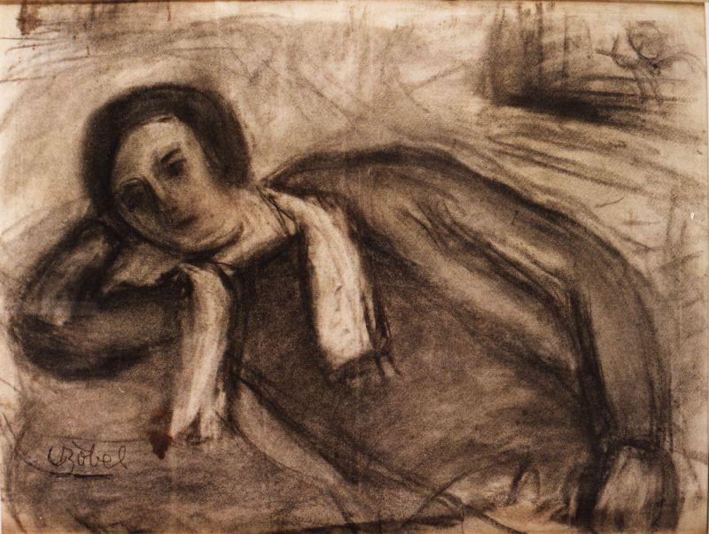 A Francia lány című szénrajza (Rippl-Rónai Megyei Hatókörű Városi Múzeum CC BY)