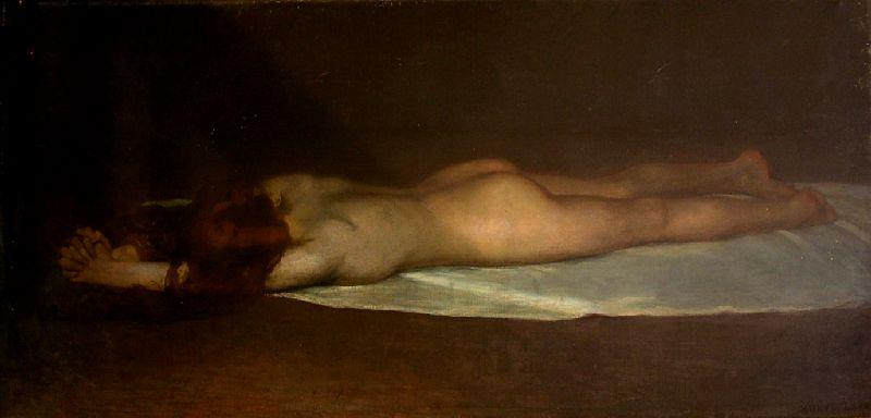 Kunffy Lajos: Kétségbeesés (fekvő akt), olajfestmény - Rippl-Rónai Megyei Hatókörű Városi Múzeum, CC BY