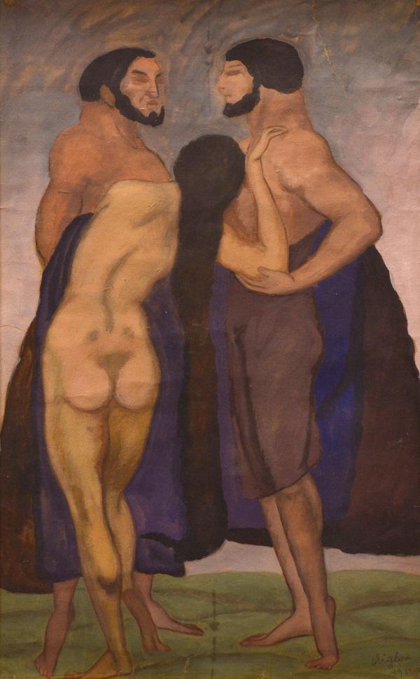 Sassy Attila: Aktos jelenet, temperafestmény (1913) - Rippl Rónai Megyei Hatókörű Városi Múzeum, CC BY
