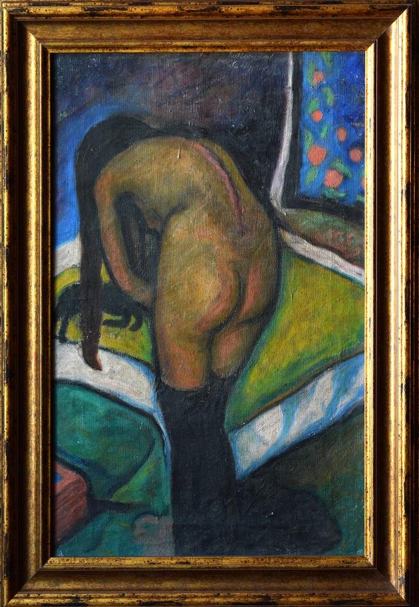 Sassy Attila: Feketeharisnyás női akt, olajfestmény - Rippl-Rónai Megyei Hatókörű Városi Múzeum, CC BY