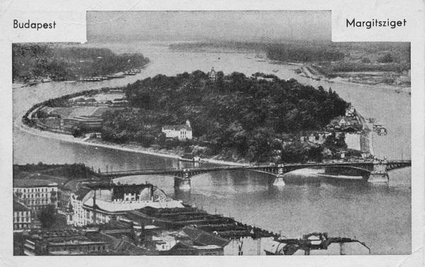 Kilátás a Szent Margitszigetre - képeslap, Budapest, 1930 körül - Magyar Kereskedelmi és Vendéglátóipari Múzeum, CC BY-NC-ND
