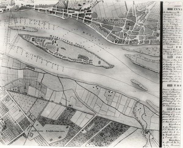 Margitsziget az 1830-as években, térképrészlet - Magyar Kereskedelmi és Vendéglátóipari Múzeum, CC BY-NC-ND