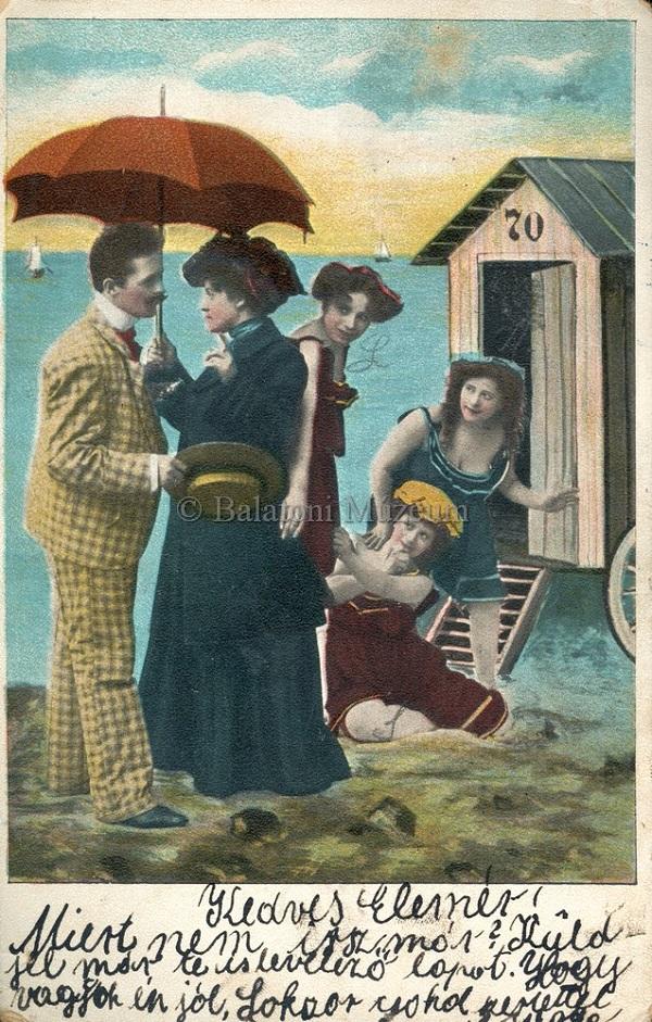 Életkép a strandról, képeslap (1907) - Terleczky József, CC BY-NC-ND