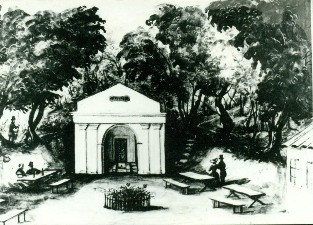 A zugligeti Disznófő vendéglőről Than Mór által 1847-ben készült vízfestmény (MaNDA)