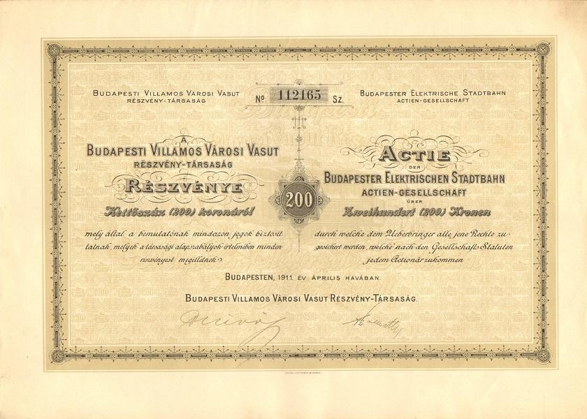 A Budapesti Villamos Városi Vasút Rt. részvénye 200 koronáról - Magyar Nemzeti Múzeum, CC BY-NC-ND