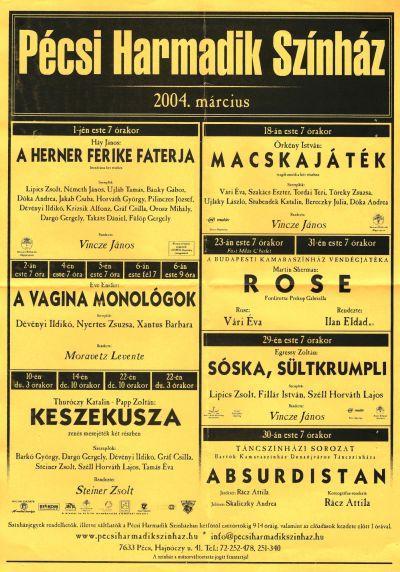 A színház műsora 2004 márciusában (MaNDA)