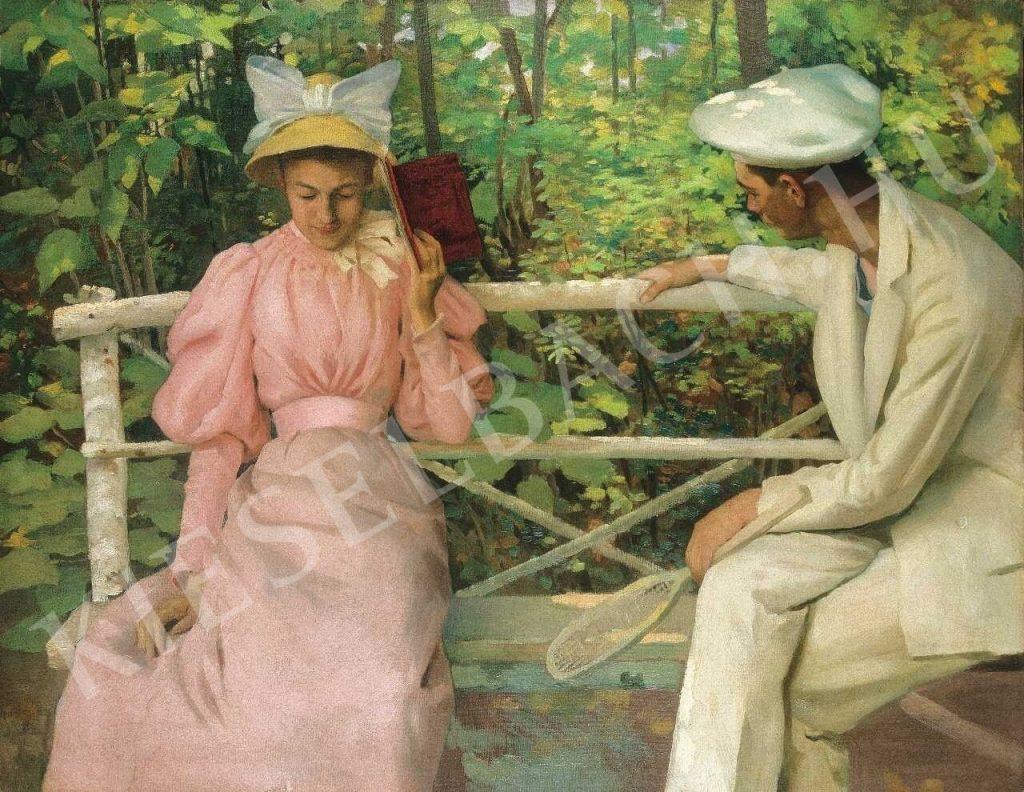 Vaszary János - Udvarlás (Szerelmespár teniszütővel), 1895 körül (forrás: Kieselbach Galéria)