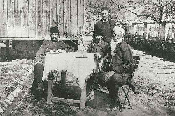 Ada Kaleh szigeti török kávézó, Újorsova, 1920-as évek - Magyar Kereskedelmi és Vendéglátóipari Múzeum, CC BY-NC-ND