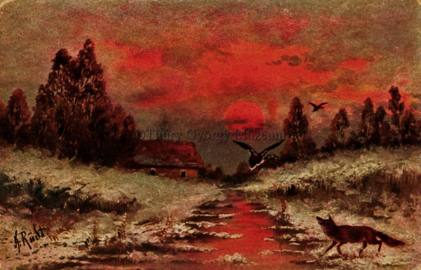 Téli tájkép naplementével és rókával - Thúry György Múzeum, CC BY-NC-ND