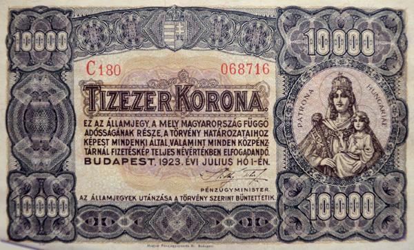 Tízezer koronás államjegy előoldala, a Platorna Hungariae képével - Kállay Gyűjtemény, CC BY-NC-ND