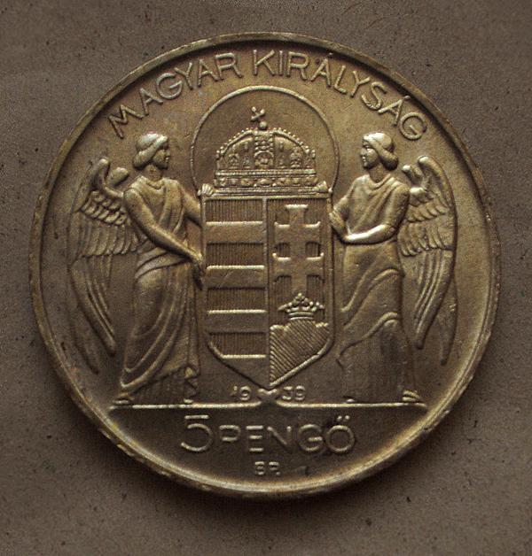 5 pengős pénzérme - Kállay Gyűjtemény, CC BY-NC-ND