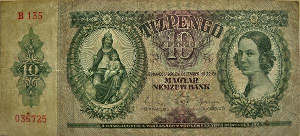 10 pengős bankjegy, Bőhle Mária (pesthidegkúti lakos) arcképével - Kállay Gyűjtemény, CC BY-NC-ND