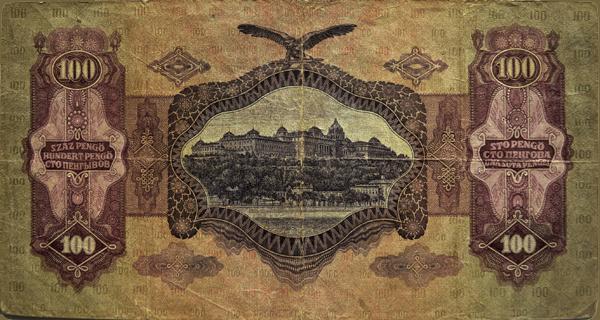 100 pengős bankjegy hátoldala - Kállay Gyűjtemény, CC BY-NC-ND