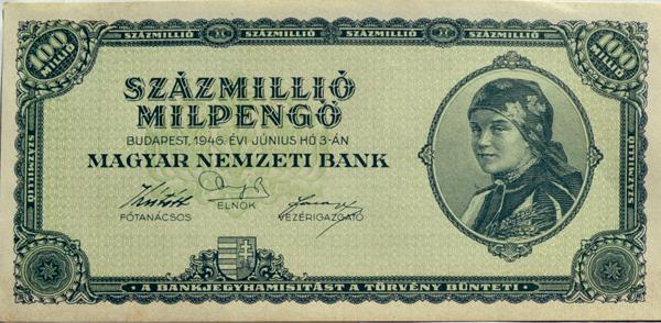 Százmillió milpengős bankjegy, Rudas Valéria bényi palóclány portréjával - Kállay Gyűjtemény, CC BY-NC-ND