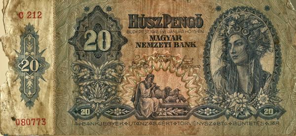 Húsz pengős bankjegy - Magyar Nemzeti Bank, CC BY-NC-ND