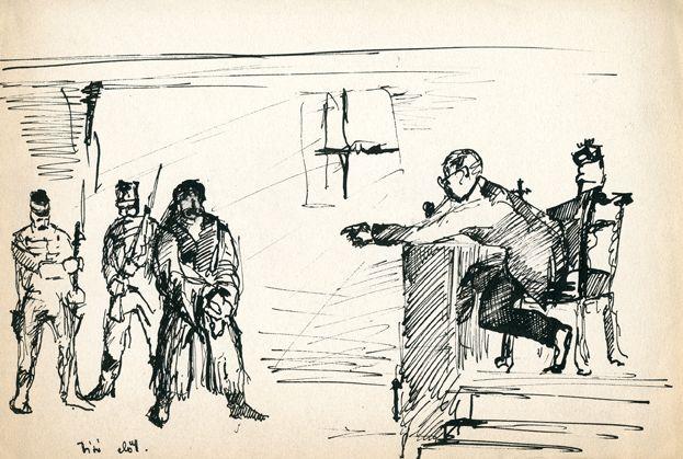 Cseh Tamás: Bíró előtt, grafika - Cseh Tamás jogutódai, CC BY-NC-ND