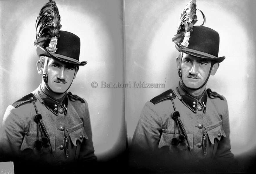 Csendőr műtermi portréja, üvegnegatív - Balatoni Múzeum, CC BY-NC-ND