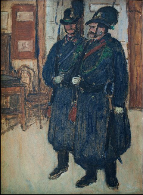 Rippl-Rónai József: Csendőrök, olajfestmény - Rippl-Rónai Megyei Hatókörű Városi Múzeum, CC BY