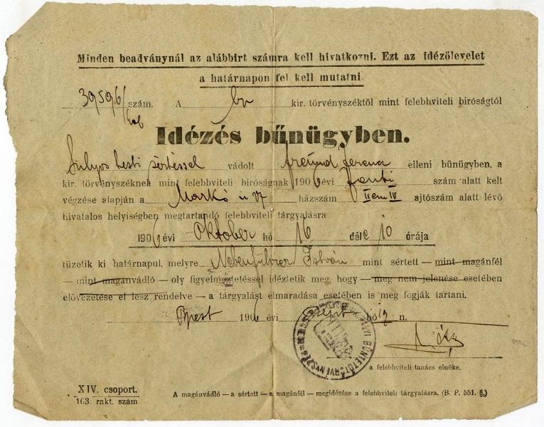 Idézés bűnügyben (1906) - Budapesti Történeti Múzeum, CC BY-NC-ND