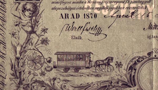 Az Aradi Közúti Vaspálya és Téglagyár Rt. részvénye - Magyar Nemzeti Múzeum, CC BY-NC-ND