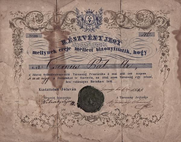 A Jólsvai Gyümölcstenyésztő Társaság részvénye 4 forint értékben - Magyar Nemzeti Múzeum, CC BY-NC-ND