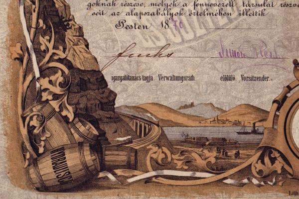 A Lábatlani Portland Cement, Vízhatlan- és Kövér-Mészgyár és Gőztéglavető Rt. részvénye - Magyar Nemzeti Múzeum, CC BY-NC-ND