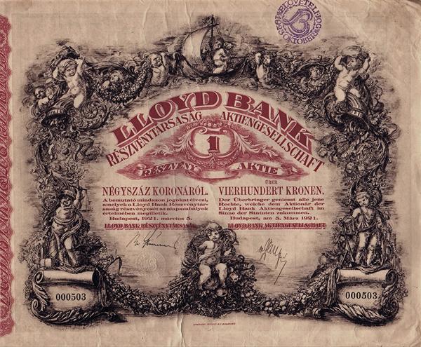A LLoloyd Bank Rt. részvénye - Magyar Nemzeti Múzeum, CC BY-NC-ND