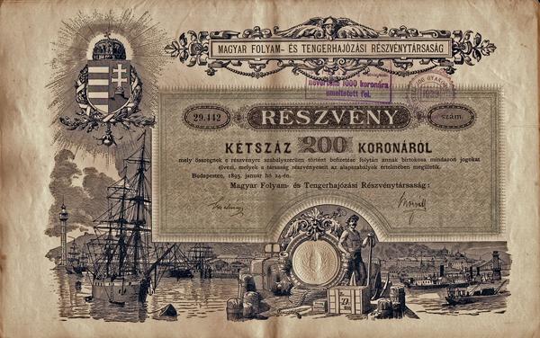 A Magyar Folyam- és Tengerhajózási Rt. részvénye 200 koronáról - Magyar Nemzeti Múzeum, CC BY-NC-ND