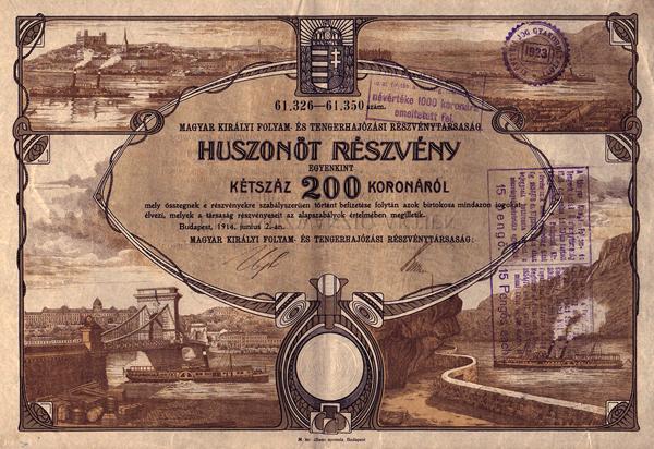 A Magyar Királyi Folyam- és Tengerhajózási Rt. részvénye - Magyar Nemzeti Múzeum, CC BY-NC-ND