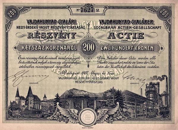 A Vajdahunyad-Gyalári Helyi Érdekű Vasút Rt. részvénye - Magyar Nemzeti Múzeum, CC BY-NC-ND
