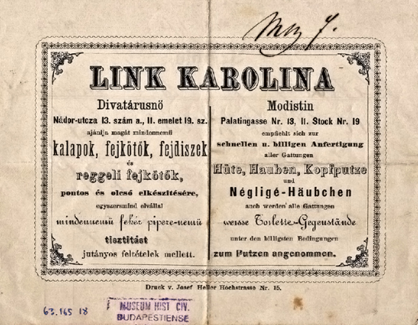 Link Karolina divatárusnő reklámja és számlája, Nádor u. 13., 1873 - Budapesti Történeti Múzeum, CC BY-NC-ND