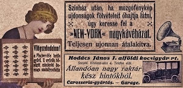 Reklámmontázs a Színházi Újság különféle számaiból - Országos Színháztörténeti Múzeum és Intézet, PDM