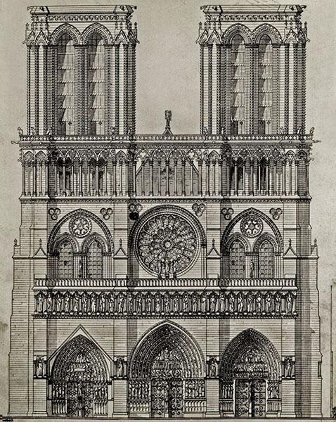 Tervrajzon a Notre Dame, szemből - Kuny Domokos Múzeum, CC BY