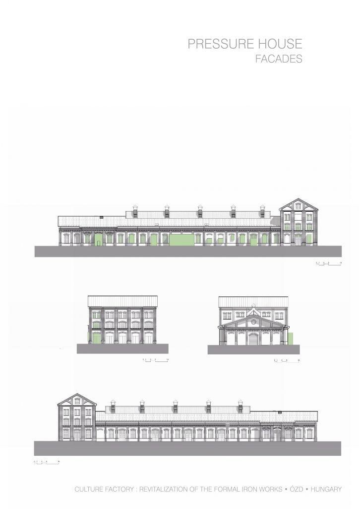 A Nemzeti Filmtörténeti Élménypark épületének homlakzatai