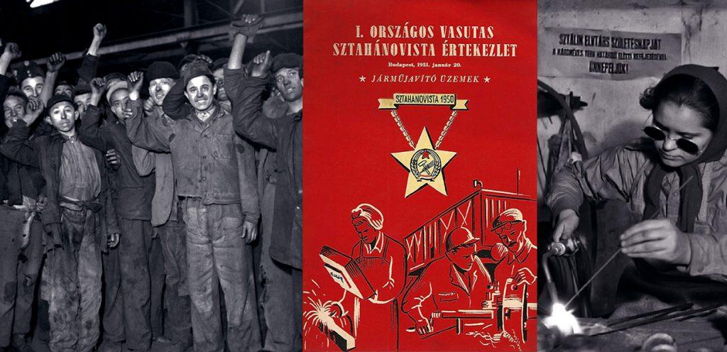 Magyar munkások az 1950-es évekből (Fortepan) és egy sztahanovista kiadvány borítója (Damjanich János Múzeum)