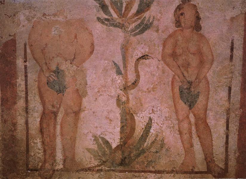 Ádám és Éva falfestmény az Ókeresztény Mauzóleumban - Csorba Győző Könyvtár - Pécs, CC BY-NC